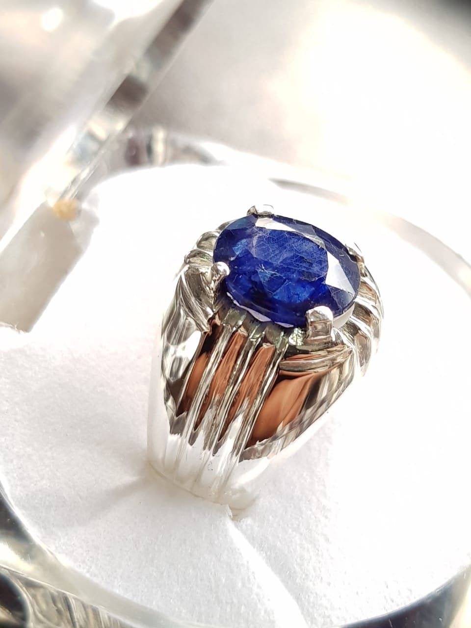 Mens Sapphire Ring Natural For Men 3Ct Plus Silver Blue Gift Him