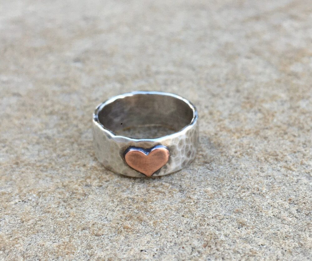 sterling Silver Heart Ring/Hammered Band Ring/sterling Ring With Heart/Crescent Moon Ring/star