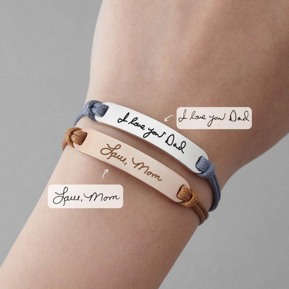 Signature Bracelet Leather, Daughter Memorial Gift, Handwriting Jewelry, Loss Of Mom Bracelet, Remembrance Jewelry