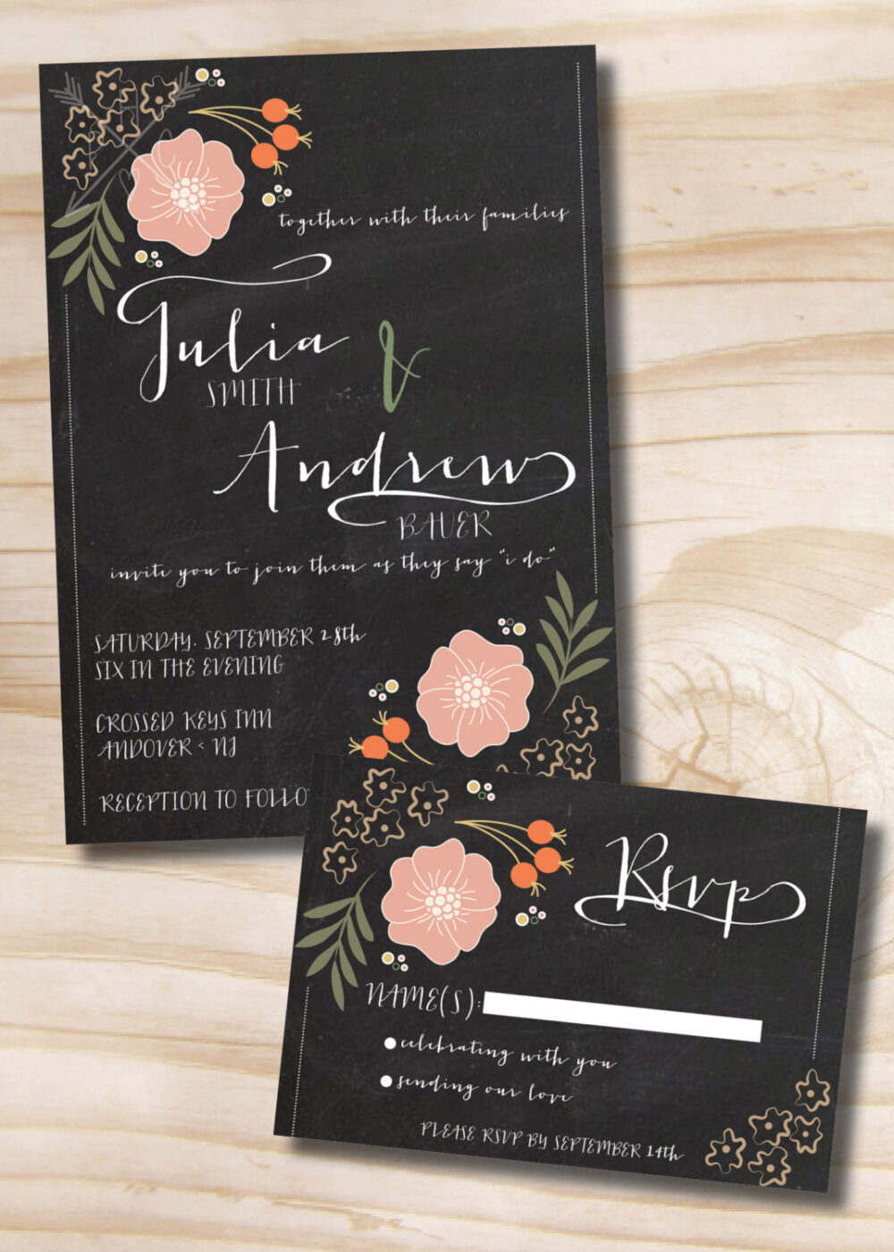 Chalkboard Floral Wedding Invitation & Response Card Suite