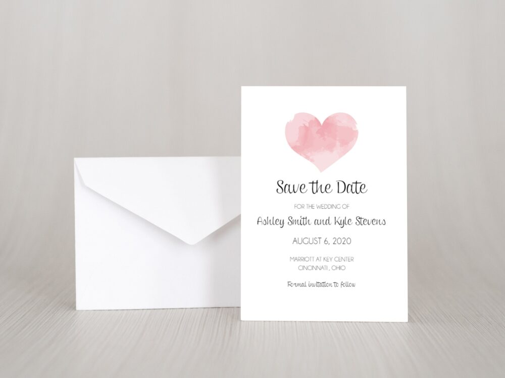 Printed Watercolor Heart Save The Date Invitation Card, Elegant, Simple, Pink, Blush, Classy, Classic, Country, Rustic, Barn, Boho
