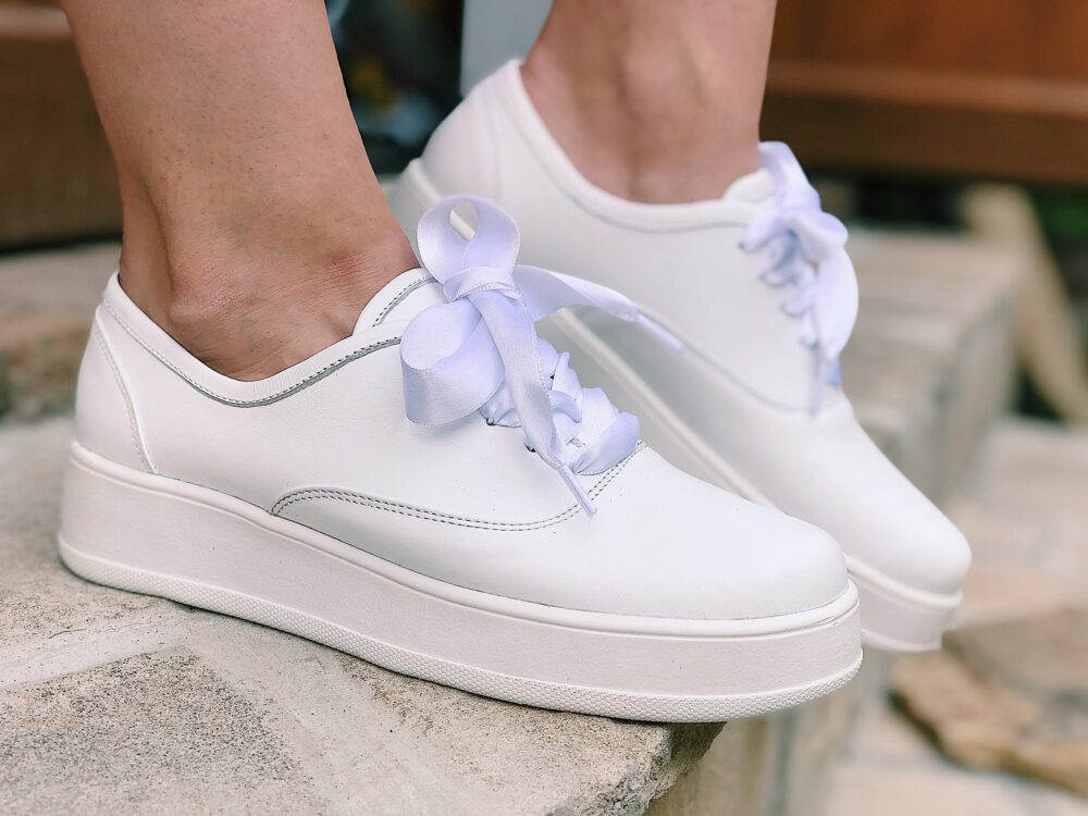 White Sneakers Shoes For Bridal, Wedding On Platform Silk Ribbons, Leather Slip-On Bride Casual, Handmade Custom