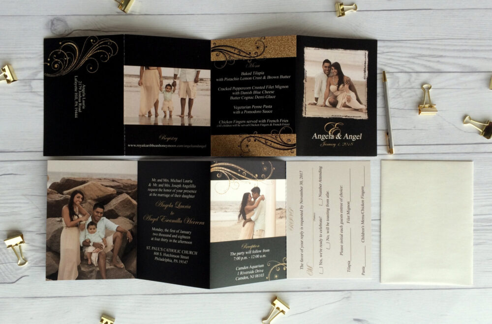 Accordion Fold Wedding Invitations · Black & Gold Custom Invitation Include Photos & Tear Off Reply Cards | 177