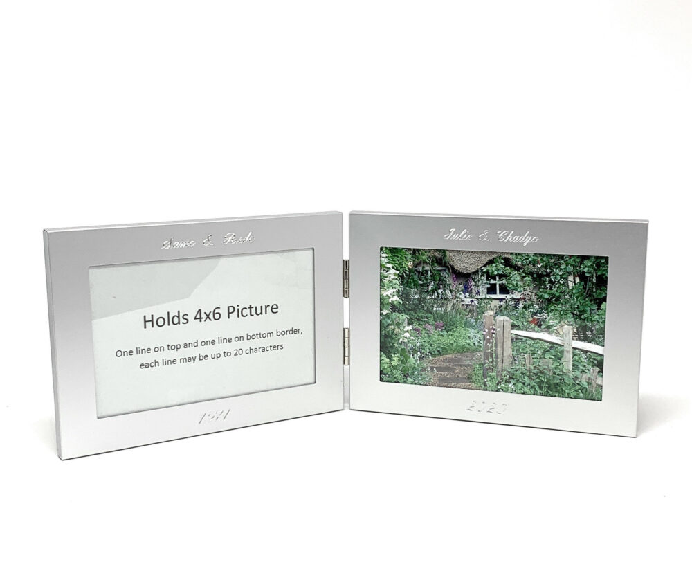 Twin Personalized Horizontal Photo Frame 4x6 - Engraved Double Picture For Birthday, Wedding, Or Anniversary