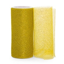 Sparkle Gold Sparkling Tulle Roll Colored - 6 X 25yd - Fabric - Width: 6 by Paper Mart