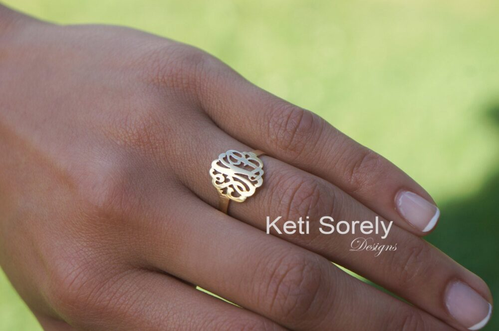 Small Monogram Initials Ring - Customize It With Your 10K/14K 18K Solid Gold, Silver Or 14K Goldfilled