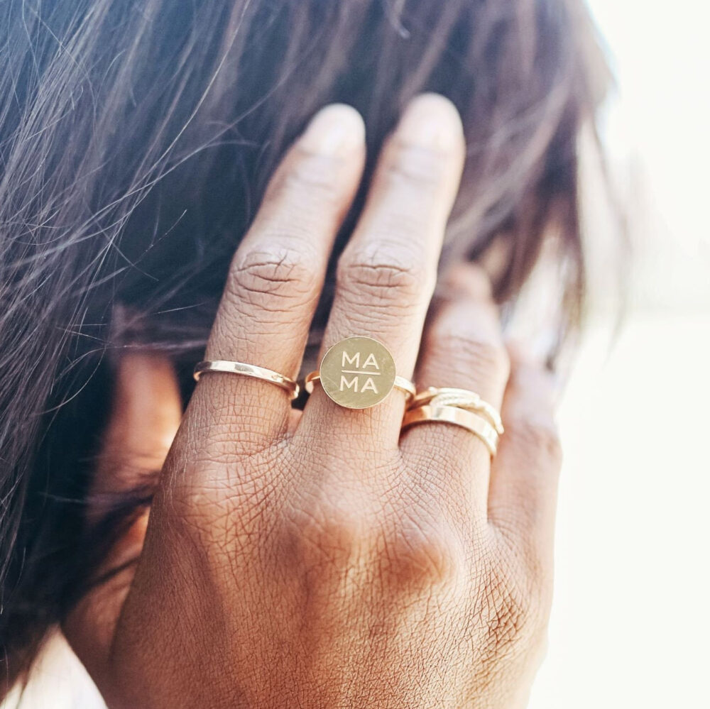 Mother's Day Gift, Jewelry For Mom, Mama Ring, Gold Mom Silver Mother