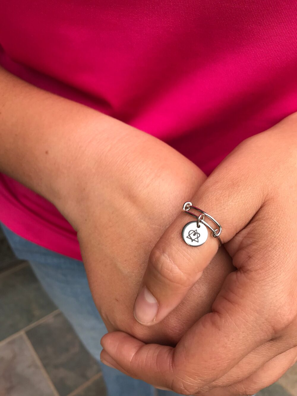 Adoption Symbol, Birthmother, Birth Mom, Mother, Baby Adoption, Thumb Ring, Silver Ring, Dainty, Jewelry, Keepsake, Gift For