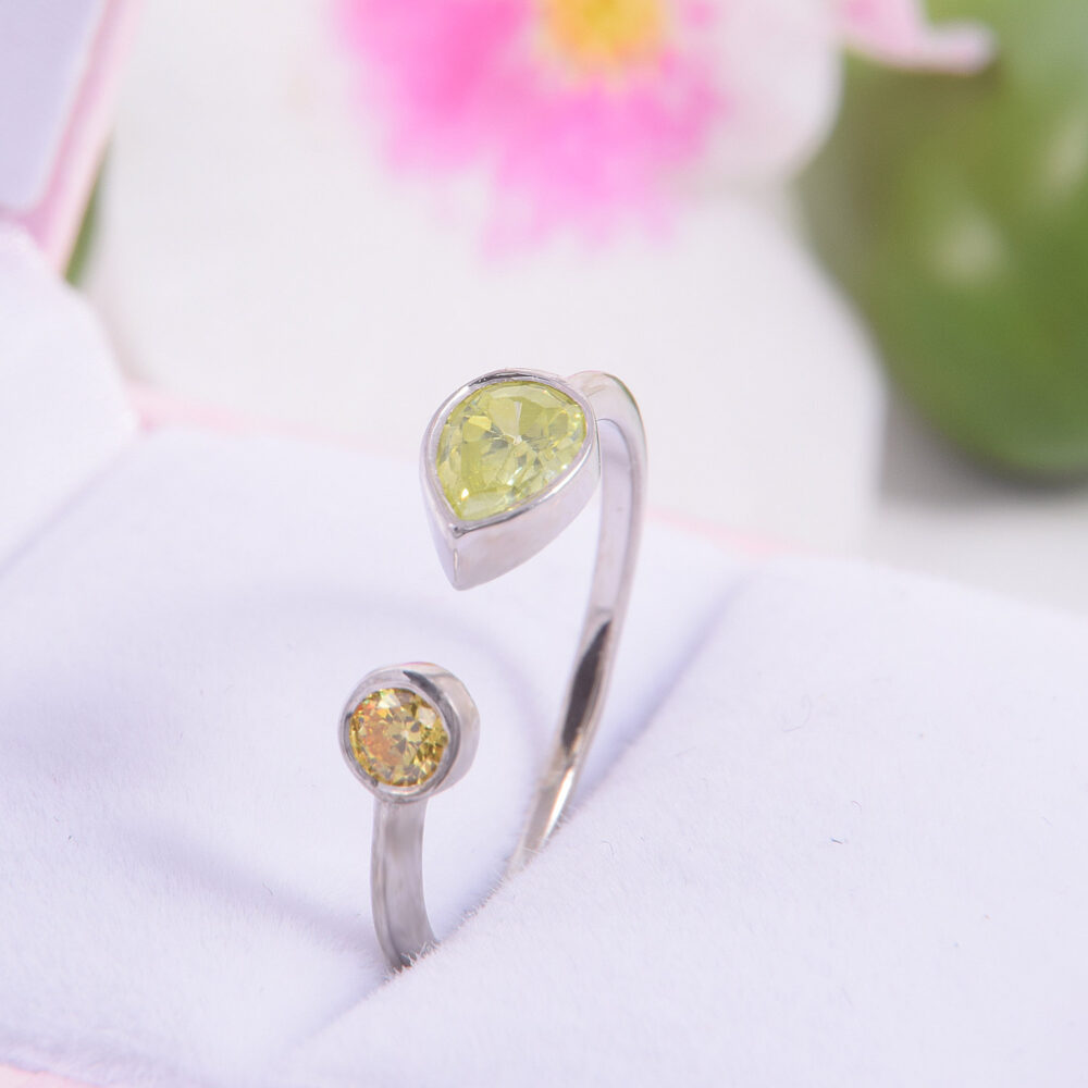 Birthstone Family Ring, Mothers 2 Birthstone Unique Mothers Gift For Mom Silver Mother Ring
