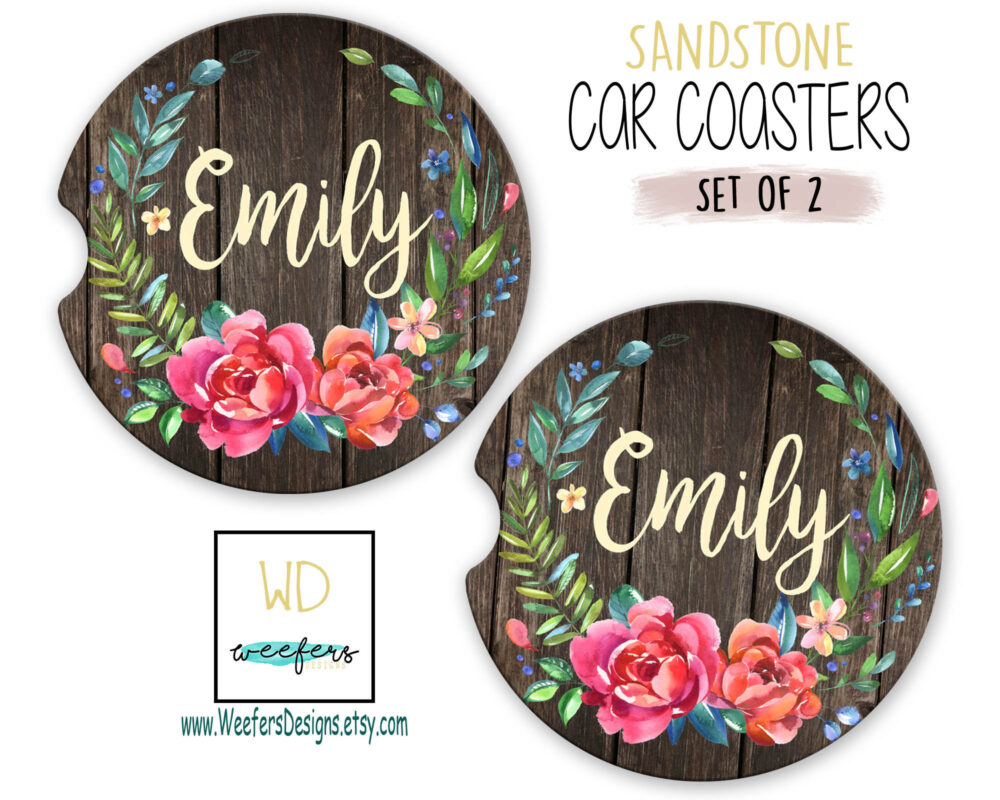 Brown Rustic Car Coasters Gift For Her Mother's Day Coworker Personalized Custom Mom Gift, Monogrammed Birthday | Car0009