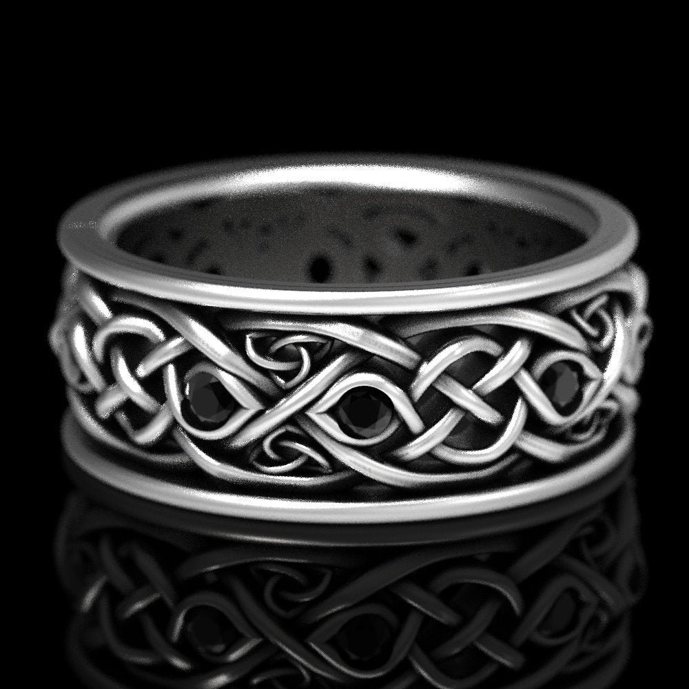 Infinity Wedding Band With Black Spinel, 925 Sterling Silver, Celtic Band, Trinity Knots & Symbol, Made in Your Size Cr1096