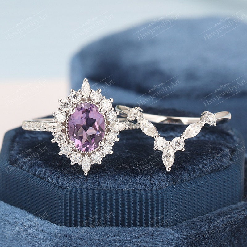 Amethyst Engagement Ring Sets Vintage Oval Halo White Gold Unique Moissanite/Diamond Wedding Anniversary Gifts