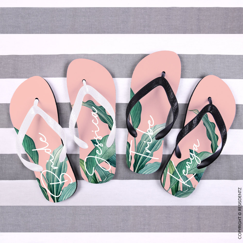 Custom Pale Pink Background Palm Leaf Flip Flops, Bride Bridesmaid Wedding Bachelorette Personalized Gift