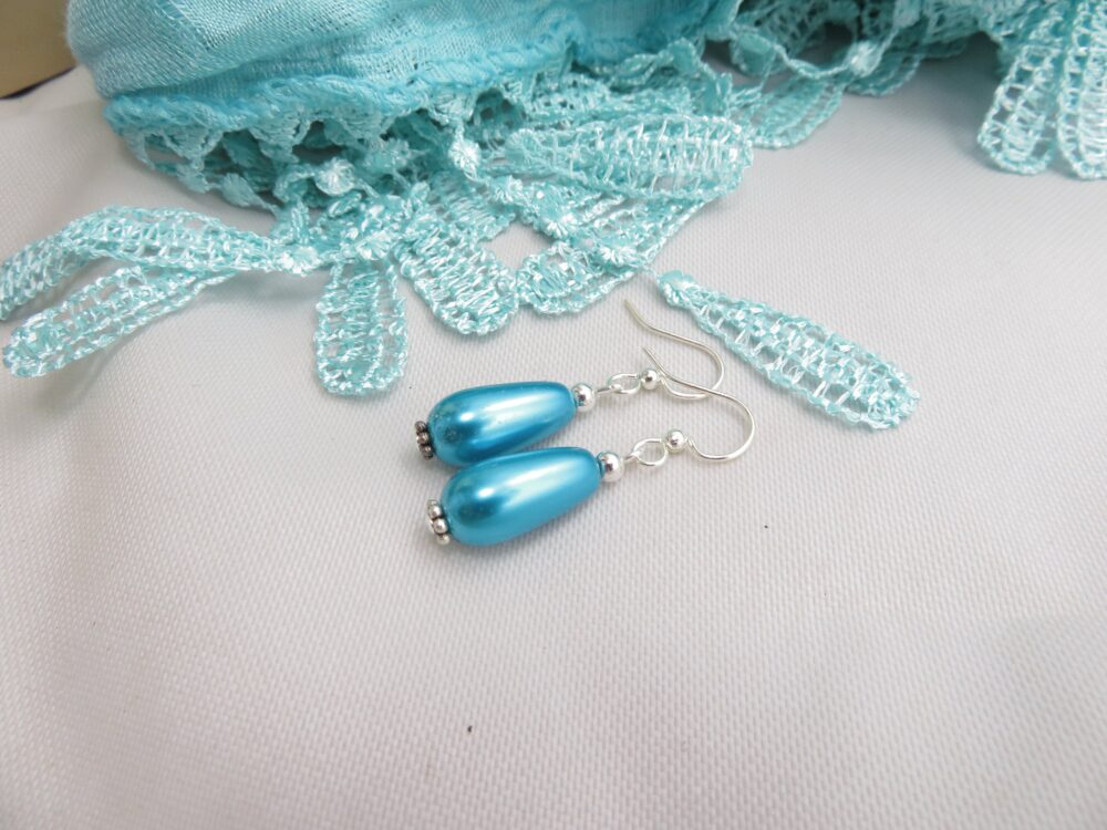 Turquoise Blue Pearl Earrings Glass Drop Jewelry Wedding Bridesmaid
