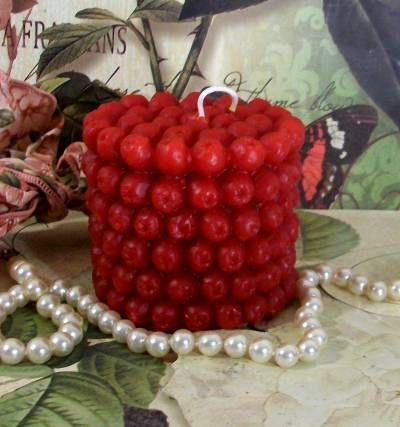 """3"""" Beeswax Red Cranberry Pillar Candle Smaller"""