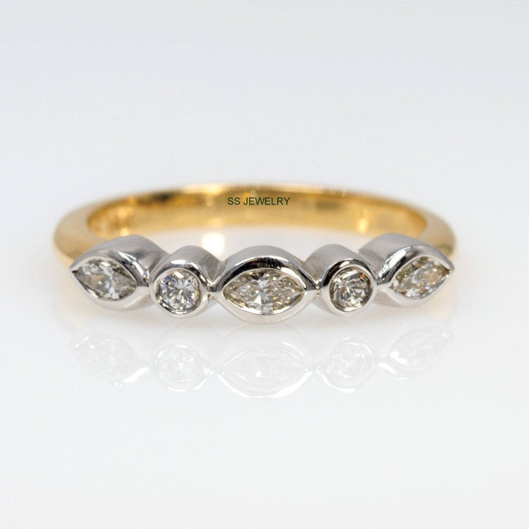 4x2 Mm Marquise Cut Moissanite Band 2 Round Def Color Wedding Vintage Engagement Ring Bezel Setting 14Kt Gold