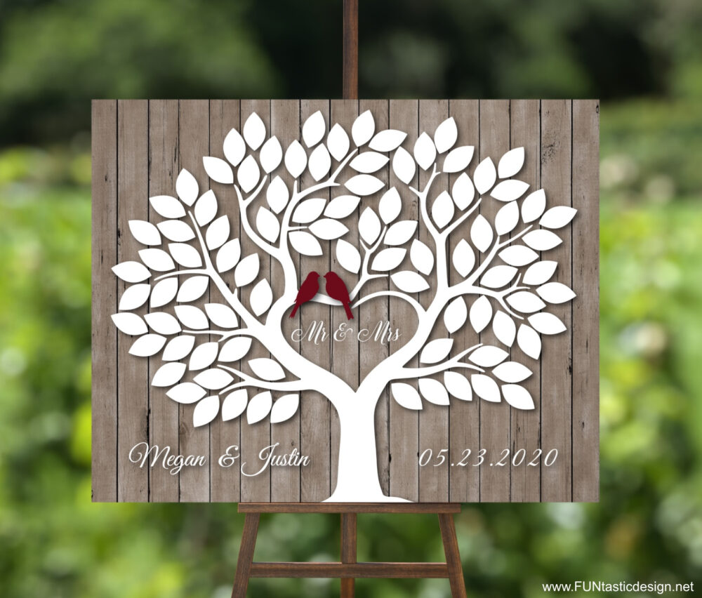 Wedding Guest Book Alternative Tree Wood With 90 Signature Leaves, Rustic Wedding Canvas Love Birds Modern