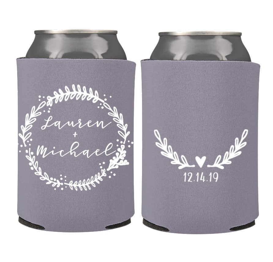 Spring Wedding Favors - Custom Personalized Can Coolers, Reception For Guests, Stubby Holders
