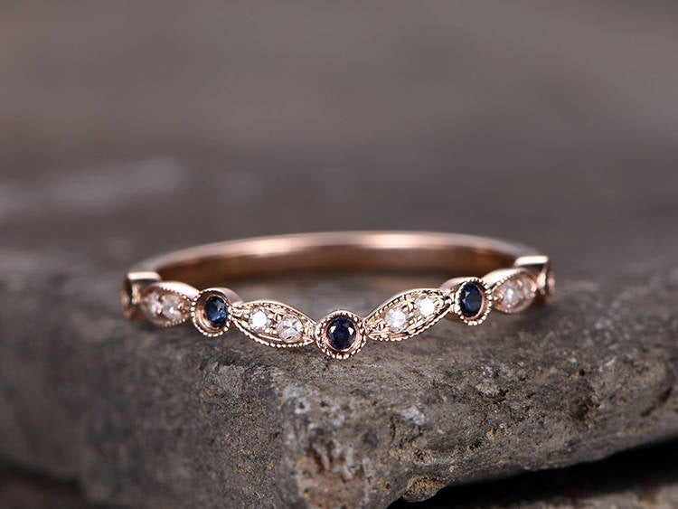 Curved V Shape Gap Ring/sterling Silver Ring/Rose Gold Plated Wedding Band/Blue Cz Band/stackable Ring/Matching Band/Marquise Band