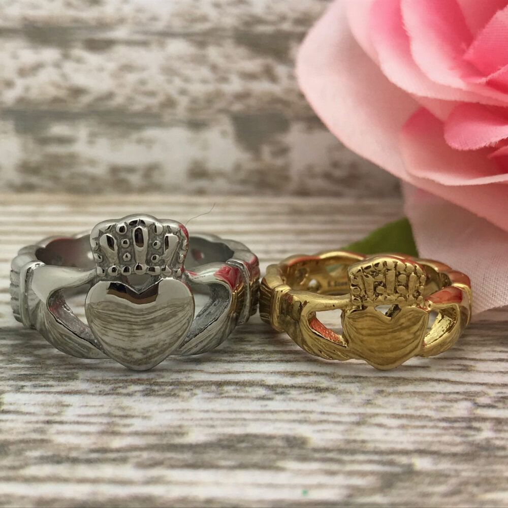 Claddagh Ring, His & Hers Celtic Stainless Steel Personalize Wedding Band, Engagement Ring