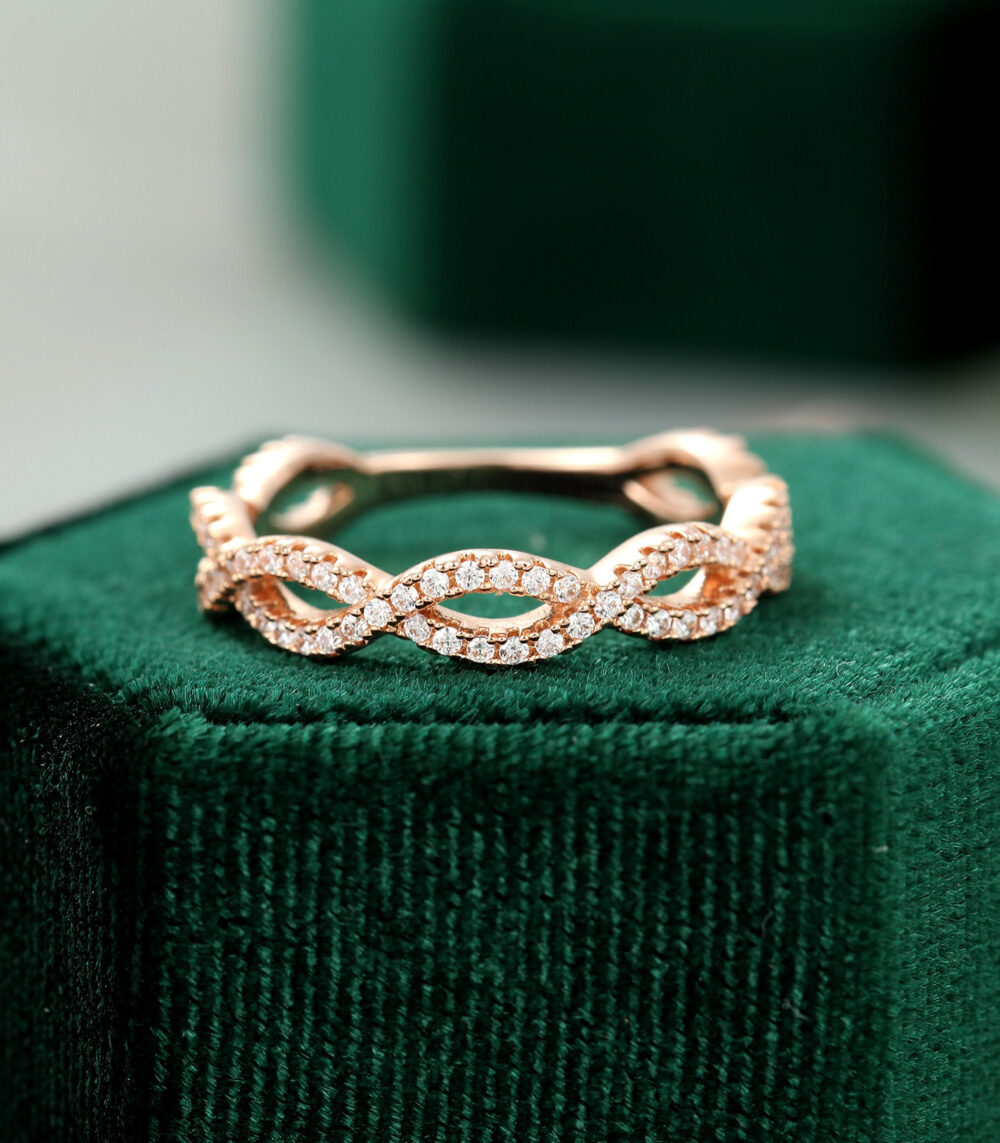 Rose Gold Wedding Band Women Unique 3/4 Eternity Moissanite Vintage Infinity Cross Ring Bridal Weave Stacking Promise Gift