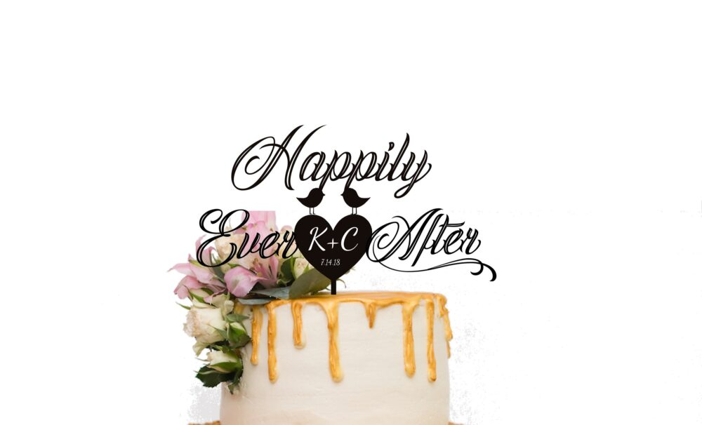 Personalized Wooden Wedding Cake Topper Bride & Groom Bird Couple Silhouette Cake Topper Happily Ever After Fairy Cartoon