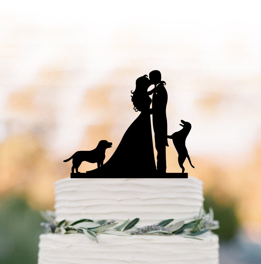 Wedding Cake Topper With Dogs. Funny Topper, Bride & Groom Silhouette Cake Topper, Unique Wedding Top Decoration