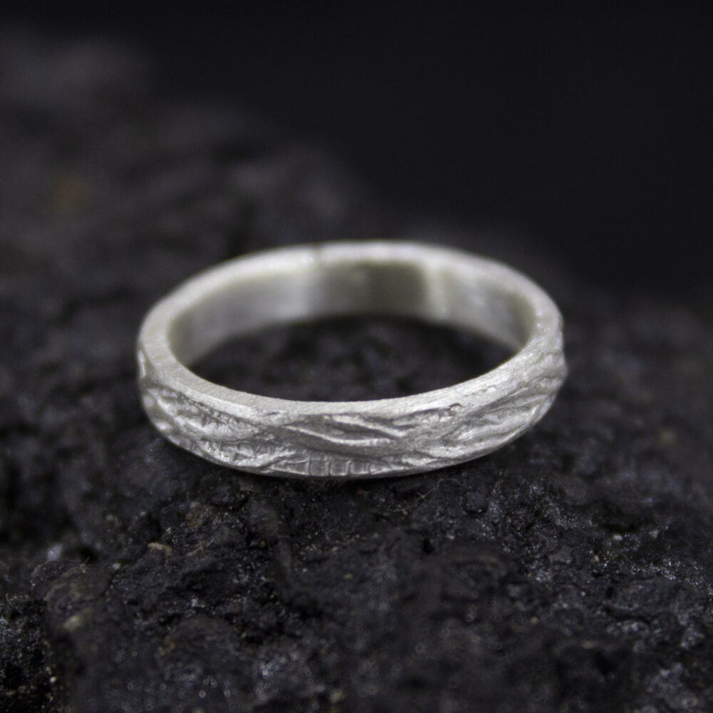 Wedding Silver Tree Bark Ring | 24K Gold Plated 925 Sterling Rustic Bands Promise 3 Mm Engagement By Pellada