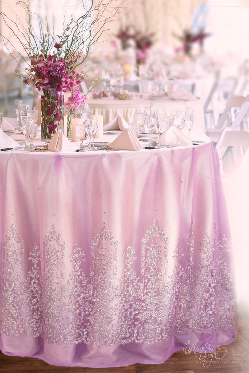 Pink Violet Tulle Table Cloth Made To Order. Silver Glitter Damask Mesh Skirt Overlay For Wedding Cake Sweetheart Bridal Shower