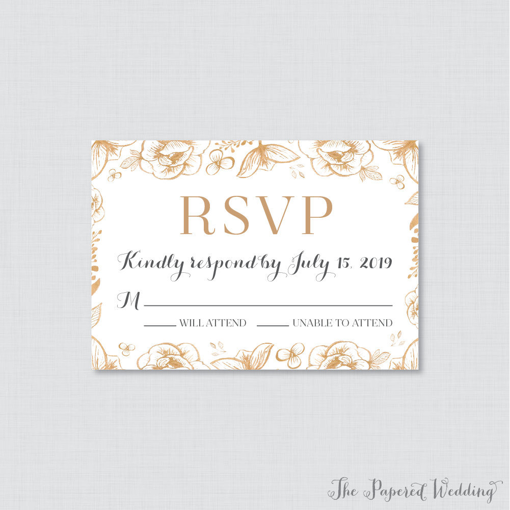 Printable Or Printed Wedding Rsvp Cards - Gold Floral Flower Response Cards, Invitation Reply 00018
