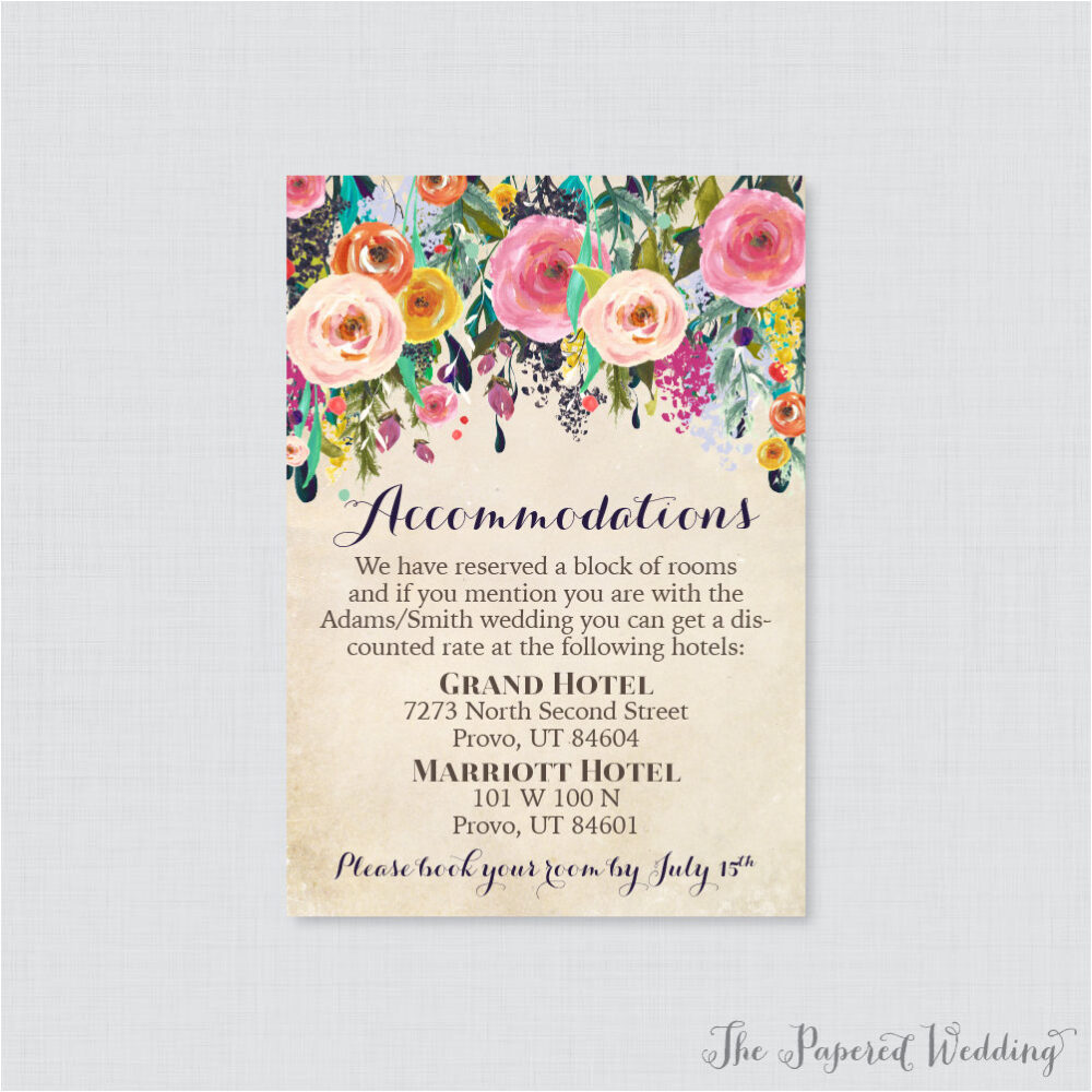 Printable Or Printed Wedding Accommodation Cards - Floral Inserts Colorful Flower Details Invitation Insert 0003-A