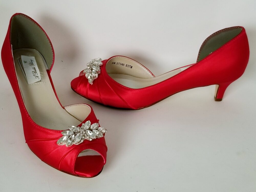 Red Wedding Shoes Clear Crystal Applique Bridal Bridesmaid Pick From 100 Colors