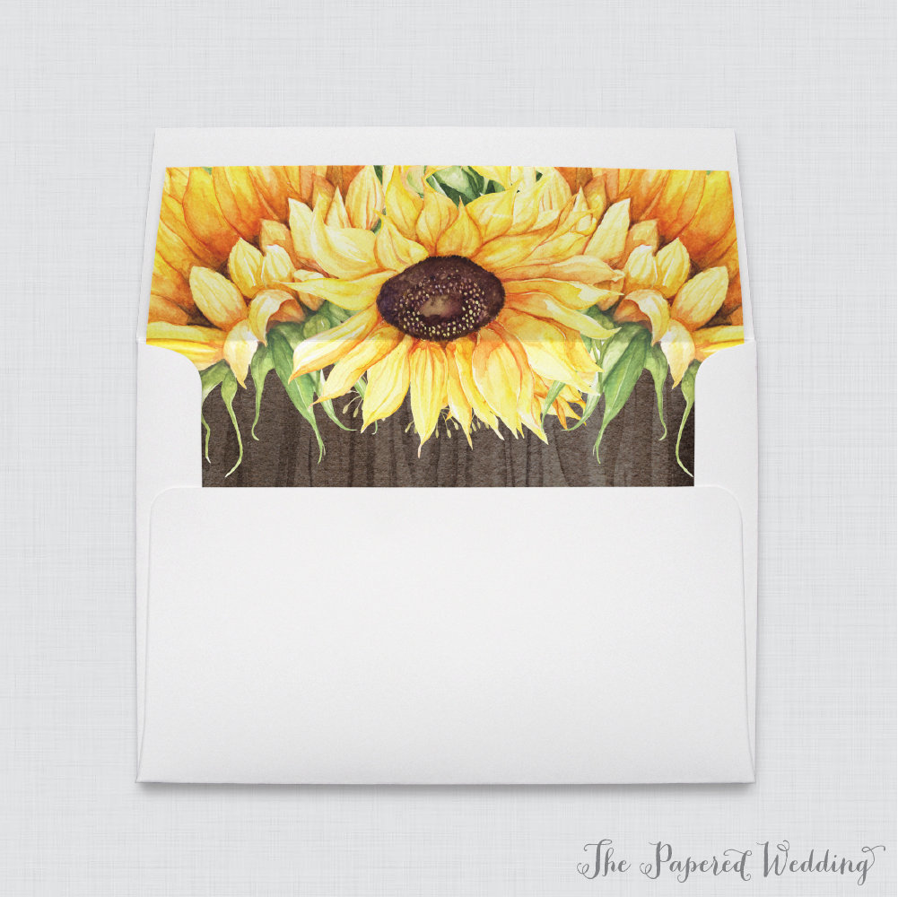 Sunflower & Wood Wedding Envelope With Liners - A7 Envelopes Yellow Sunflowers Liners, Rustic 0019-B