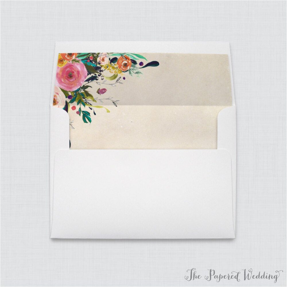 Wedding Envelopes With Liners - White A7 Floral Envelope Liners, Colorful Flower Shabby Chic 0003-A