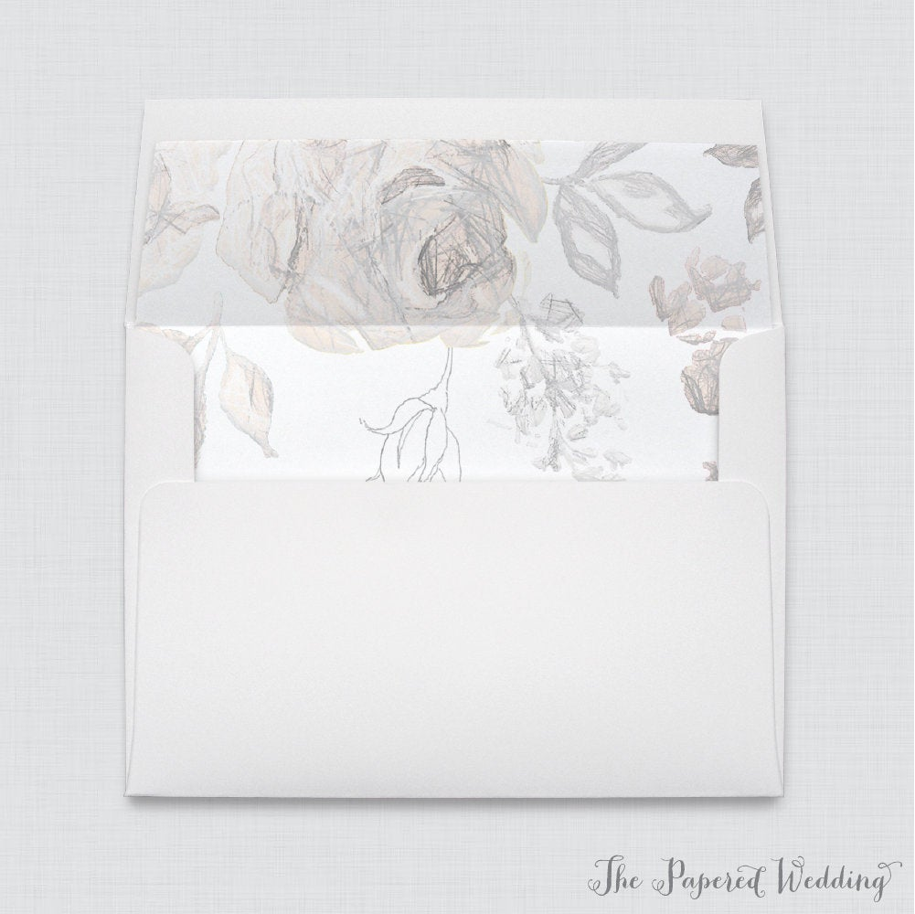 Wedding Envelopes With Gray Floral Liners - White A7 Sketched Grey Envelope Liners, Flower 0015