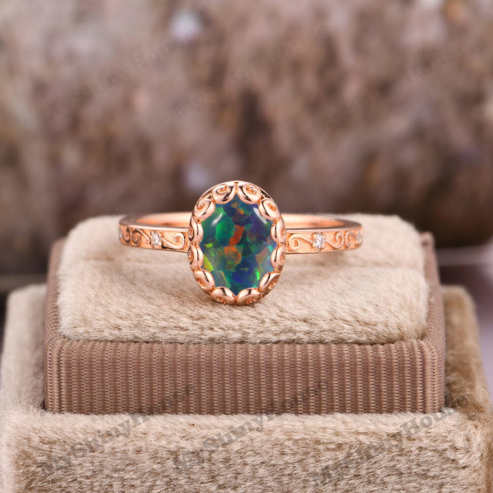 Retro Engagement Ring/ Filigree Wedding 18K Rose Gold Opal Ring/Oval Cut 7x9mm Bridal Women in Gold/Unique