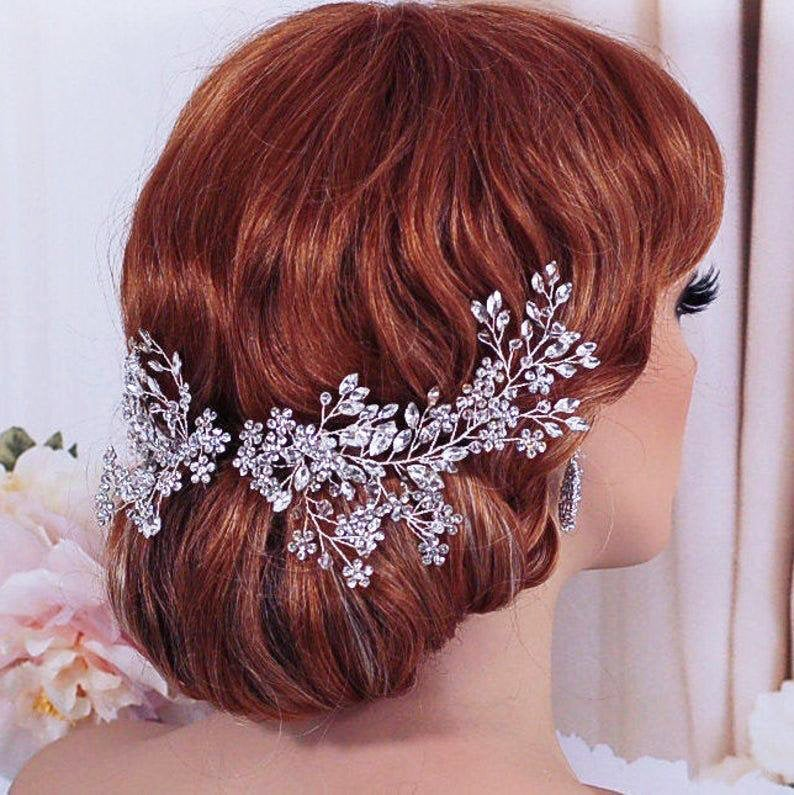 Wedding Headpiece Bridal Hair Comb Clip Party Floral Crystal Head Piece Bride Pageant Accessory Weddings Jewelry Brides Gift Accessories