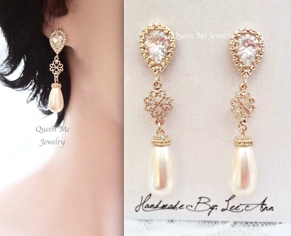 Gold Pearl Wedding Earrings For A Bride, Long Mother Of Bridesmaids Earrings, Bridal Jewelry