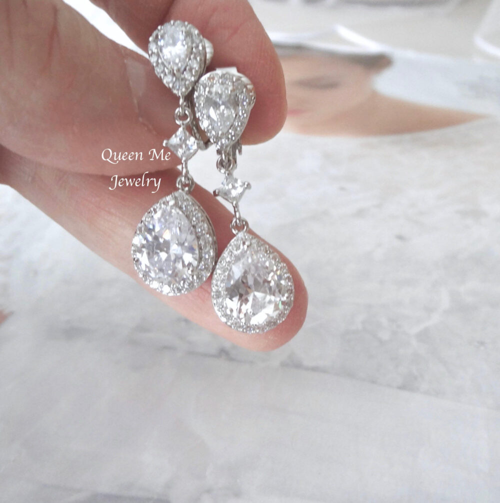 Clip On Wedding Earrings, High Quality Cz Teardrop Dangle Bridal Earrings, Wedding Jewelry, Mother Of The Bride Gift For Her