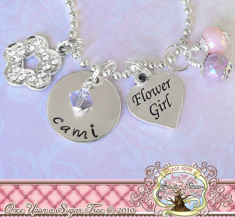 Personalized Wedding Gift Flower Girl Charm Necklace, Name Metal Hand Stamped Charm Heart Bridal Party Gifts