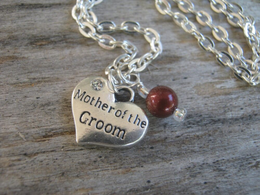 Mother Of The Groom Necklace, Personalized Jewelry, Pearl Wedding Heart Bridal Choose Your Color