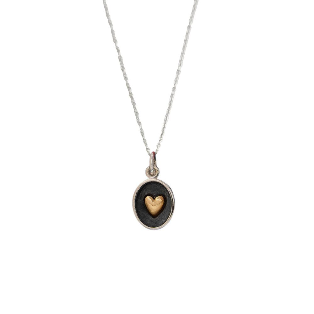 Small Oval Heart Necklace, Dainty Bronze & Sterling Silver Charm, Rustic Wedding Jewelry, Minimalist Mothers Day Gift, Ready To Ship Gift