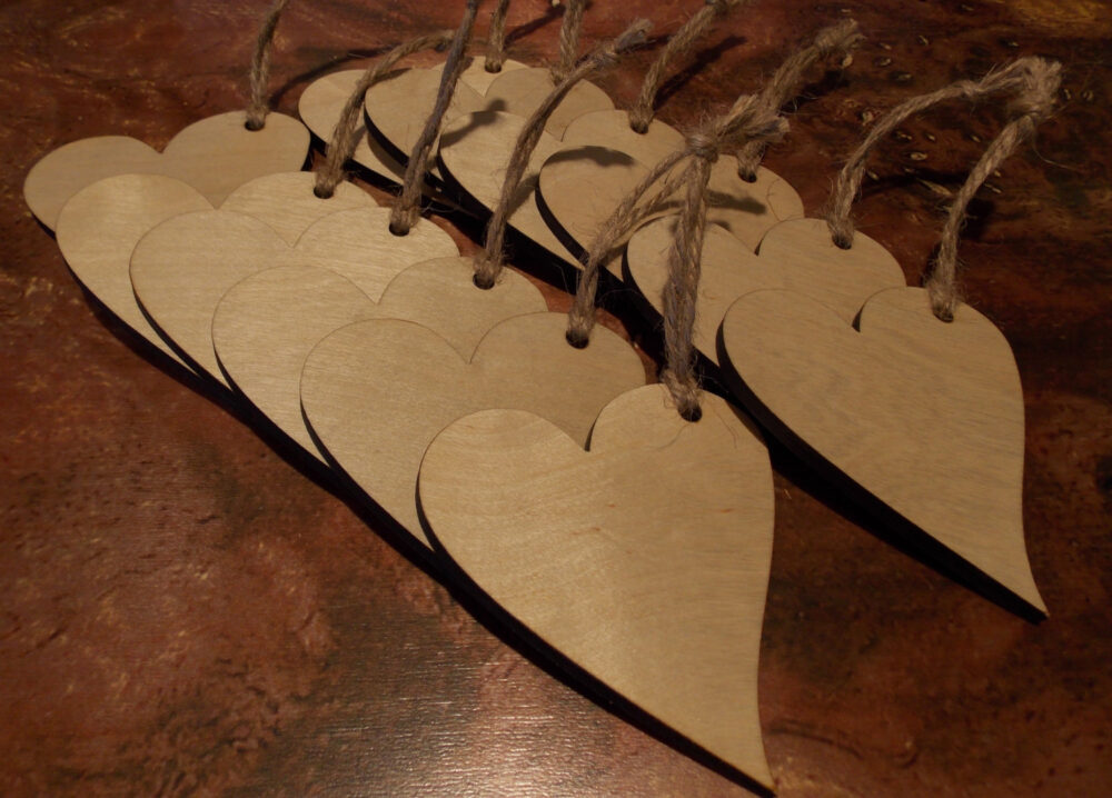 36 Wood Heart Decorations - Favor Tags Wedding Cards Alternative Guest Book Bridesmaid Favor Signing Piece Wish Tree Ornament