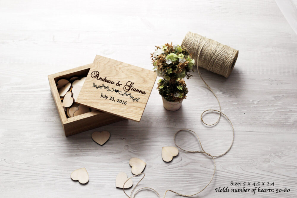 Wooden Box For Hearts Guest Book Alternative Wedding Wishes Personalized Bride Groom Wish Bridal Shower Boxs