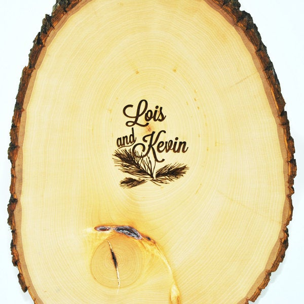 Tree Slice Guest Book With Custom Burned Monogram & Date Pen Included