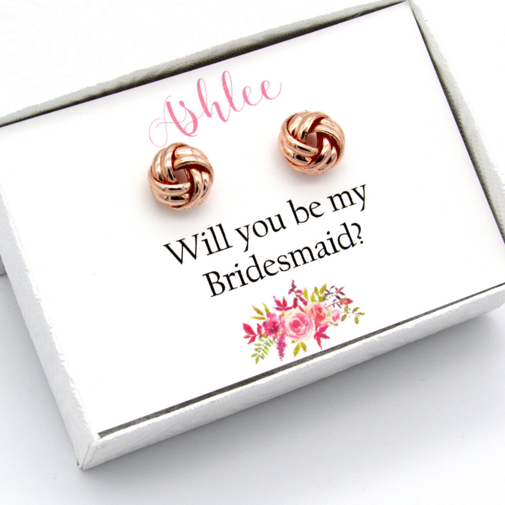 Bridesmaid Gift, Bridesmaid Proposal Box, Will You Be My Gift, Wedding Personalized Knot Earrings. 010