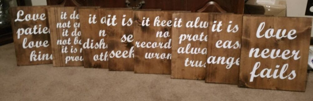 1 Corinthians 13 Rustic Wedding Aisle Signs, 8 Boards - Size 12x13, Love Is Patient, Love Kind, Never Fails - Includes Mr & Mrs Decal