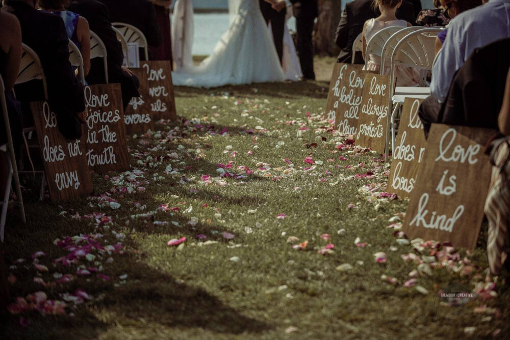Set Of 10 Wedding Aisle Signs, Decor, Corinthians 13, Love Is Patient, Kind, Never Fails, Hand Painted Custom Wood Signs
