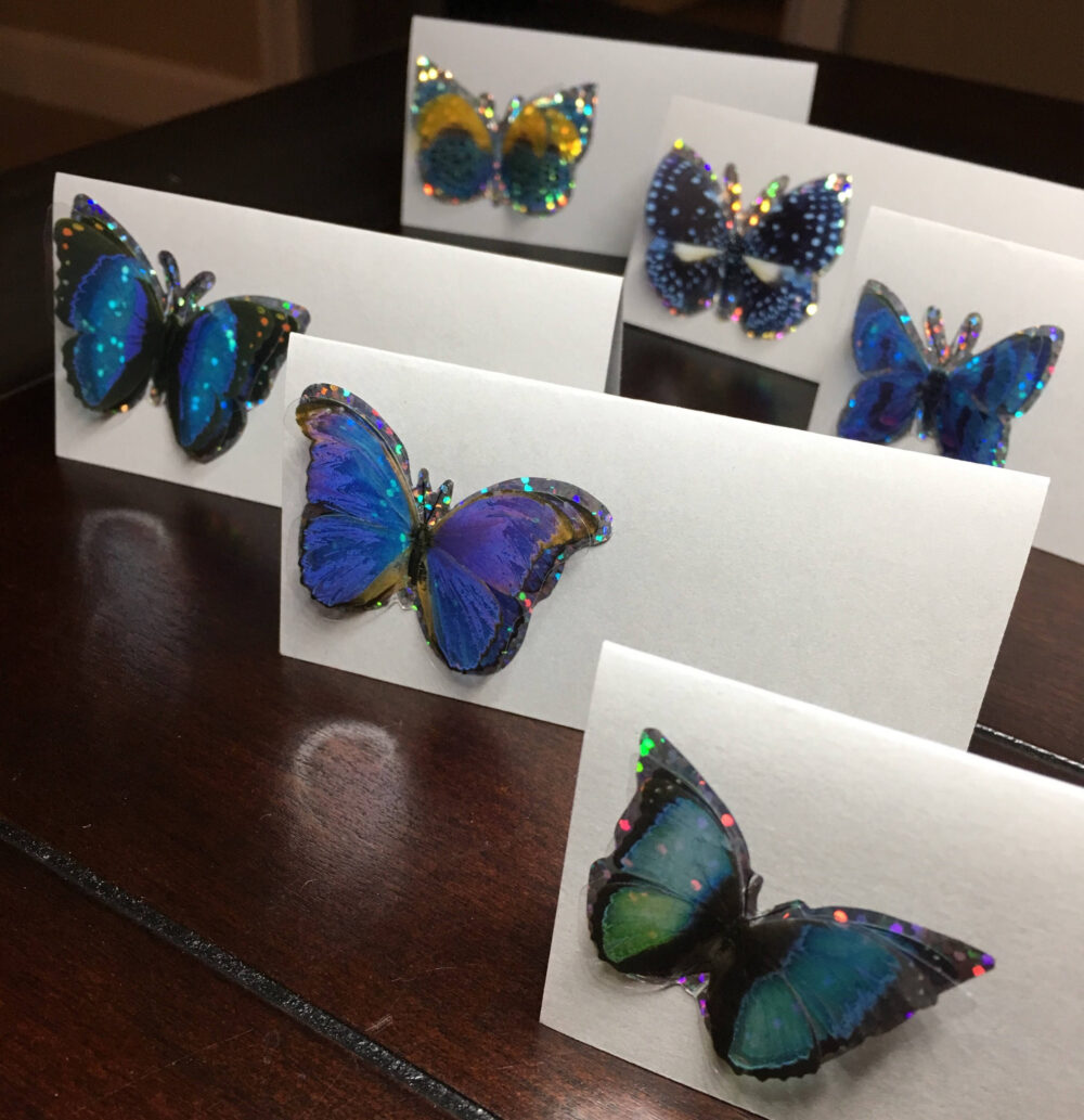 Blue Butterfly Place Cards, Purple Butterflies Placecards, Butterfly Bridal Baby Shower, Food Tents Labels-9/Order