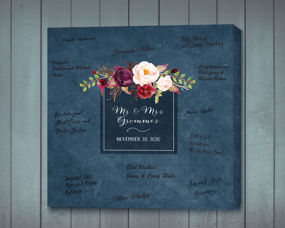Wedding Guest Signing Canvas, Navy With Burgundy & Blush Flowers, Bridal Shower Gift, Book Alternative